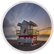 7898- Miami Beach Sunrise Round Beach Towel