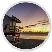 7901- Miami Beach Sunrise Round Beach Towel