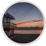 7935- Miami Beach Sunrise 14x25 Round Beach Towel