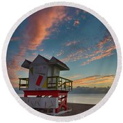 7944- Miami Beach Sunrise Round Beach Towel
