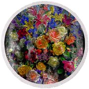 7a Abstract Floral Painting Digital Expressionism Round Beach Towel