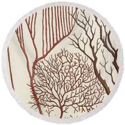 Aquatic Animals - Seafood - Algae - Seaplants - Coral Round Beach Towel