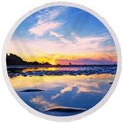 Beach Skyset Sunset On A Perranporth Beach Cornwall Round Beach Towel