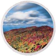 Beautiful Autumn Landscape In North Carolina Mountains Round Beach Towel