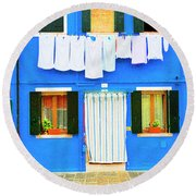 Burano Anisland Of Multi Colored Homes On Canals North Of Venice Italy Round Beach Towel