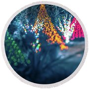 Christmas Season Decorationsafter Sunset At The Gardens Round Beach Towel