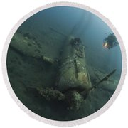 Diver Explores The Wreck Round Beach Towel