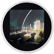 Docklands Double Rainbow Round Beach Towel