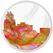 Durham North Carolina Skyline Round Beach Towel