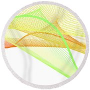 Dynamic And Bright Linear Spiral With Colorful Gradient Round Beach Towel