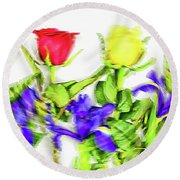 Flower Frame Border Round Beach Towel