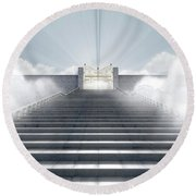Heavens Gates Round Beach Towel
