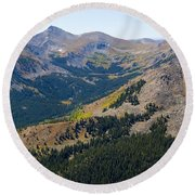 Autumn Tundra Turning To Gold  On Mount Yale Colorado Round Beach Towel