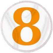 8 In Tangerine Typewriter Style Round Beach Towel
