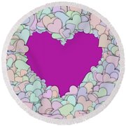 Love Heart Valentine Shape Round Beach Towel