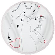 Love Is A Heart Round Beach Towel