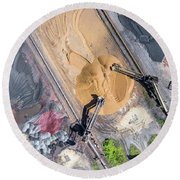 Mining Excavator On The Bottom Surface Mine.  Round Beach Towel