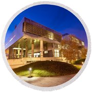 Museum Of Contemporary Art In Zagreb Exterior  Round Beach Towel