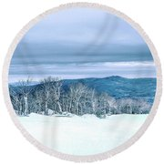 North Carolina Sugar Mountain Skiing Resort Destination Round Beach Towel