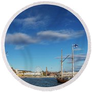 Old Sailing Boats In Helsinki City Harbor Port Finland Round Beach Towel