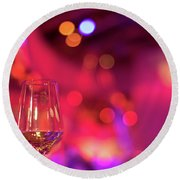 Party Setting With Colorful Bokeh Background Round Beach Towel