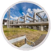 Pipes At Nesjavellir Geothermal Power Round Beach Towel