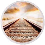 Railway Tracks  Round Beach Towel
