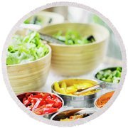 Salad Bar Buffet Fresh Mixed Vegetables Display Round Beach Towel