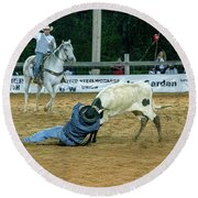 Steer Roping Round Beach Towel