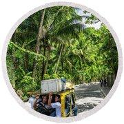 Tuk Tuk Trike Taxi Local Transport In Boracay Island Philippines Round Beach Towel