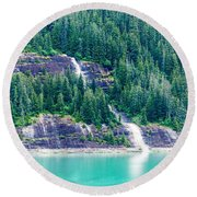 Waterfall In Tracy Arm Fjord, Alaska Round Beach Towel