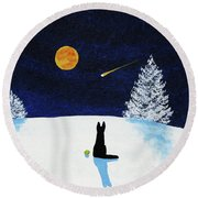 Winter Star Round Beach Towel