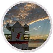 8003- Miami Beach Sunrise Round Beach Towel