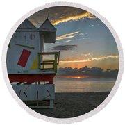8041- Miami Beach Sunrise Round Beach Towel