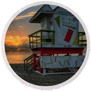 8097- Miami Beach Sunrise Round Beach Towel