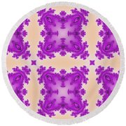 Fractal Floral Pattern Round Beach Towel