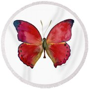 83 Red Glider Butterfly Round Beach Towel by Amy Kirkpatrick