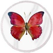 83 Red Glider Butterfly Round Beach Towel