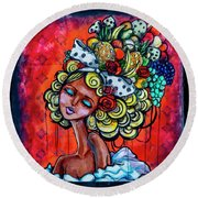 8334-1- Little Havana Mural Round Beach Towel