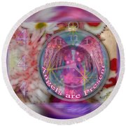 #8913_444 Angels Are Present 2 Round Beach Towel