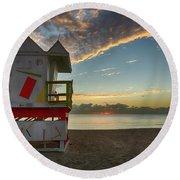8990- Miami Beach Sunrise Round Beach Towel