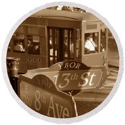 8th Ave Trolley Round Beach Towel