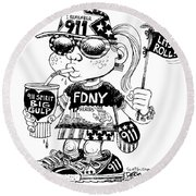 9/11 Commercialization Round Beach Towel