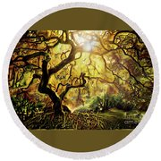9 Abstract Japanese Maple Tree Round Beach Towel
