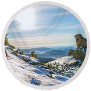 Amazing Winter Landscape With Frozen Snow-covered Trees On Mountains In Sunny Morning  Round Beach Towel