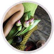 Asian Massage Spa Natural Organic Beauty Treatment Round Beach Towel