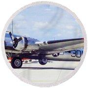 B-17 Bomber Parking Round Beach Towel