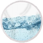 Blue Water Wave Abstract Background Round Beach Towel