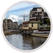Canals Of Amsterdam Round Beach Towel