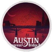 Austin's Congress Bridge Bats Illustration Art Prints Round Beach Towel